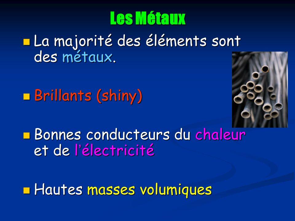 Les Métaux La majorité des éléments sont des métaux. La majorité des éléments sont des métaux. Brillants (shiny) Brillants (shiny) Bonnes conducteurs
