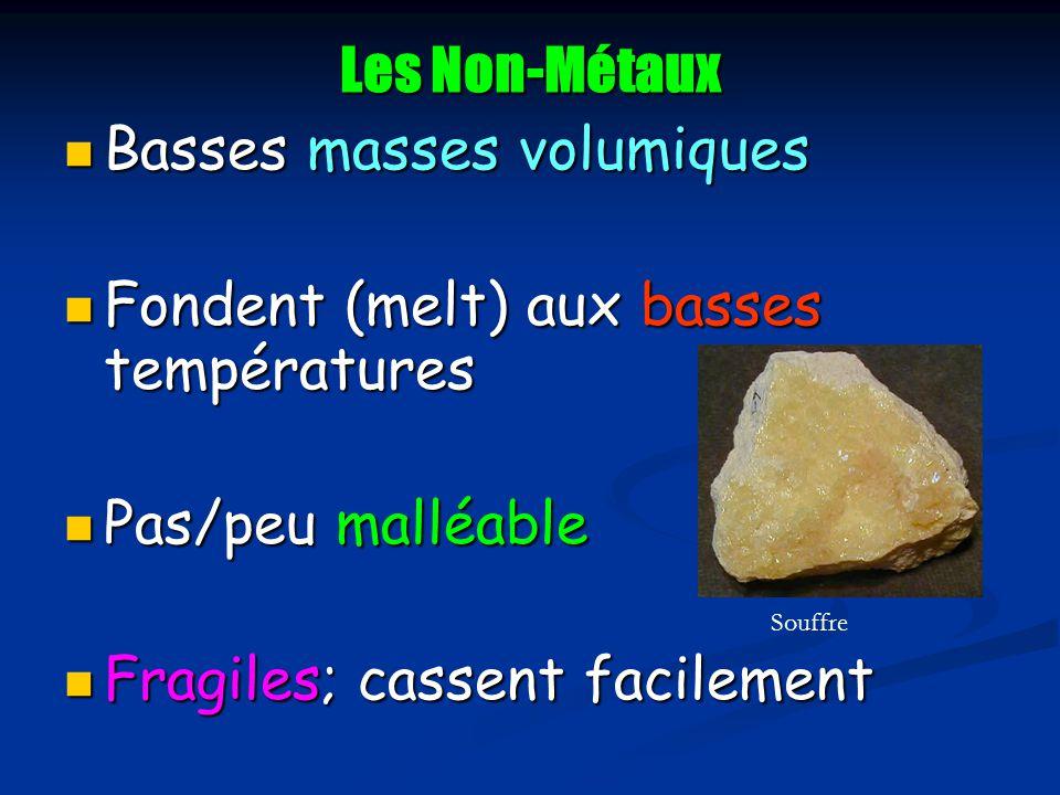 Les Non-Métaux Basses masses volumiques Basses masses volumiques Fondent (melt) aux basses températures Fondent (melt) aux basses températures Pas/peu