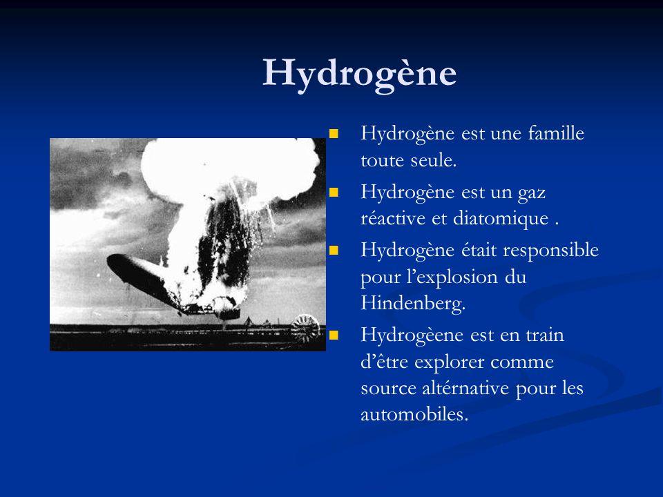 Hydrogène Hydrogène est une famille toute seule. Hydrogène est un gaz réactive et diatomique. Hydrogène était responsible pour lexplosion du Hindenber