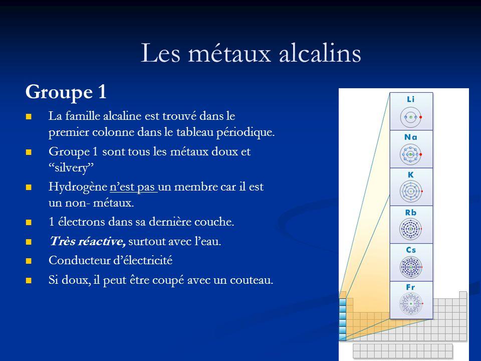 Les métaux alcalins Groupe 1 La famille alcaline est trouvé dans le premier colonne dans le tableau périodique. Groupe 1 sont tous les métaux doux et