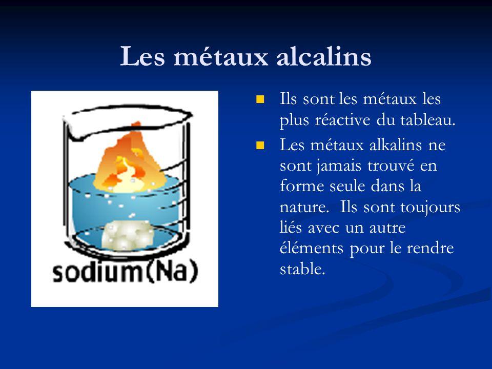 Les métaux alcalins Ils sont les métaux les plus réactive du tableau. Les métaux alkalins ne sont jamais trouvé en forme seule dans la nature. Ils son