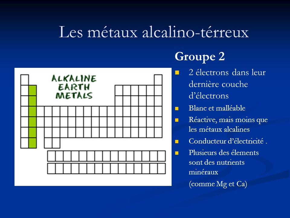 Les métaux alcalino-térreux Groupe 2 2 électrons dans leur dernière couche délectrons Blanc et malléable Réactive, mais moins que les métaux alcalines
