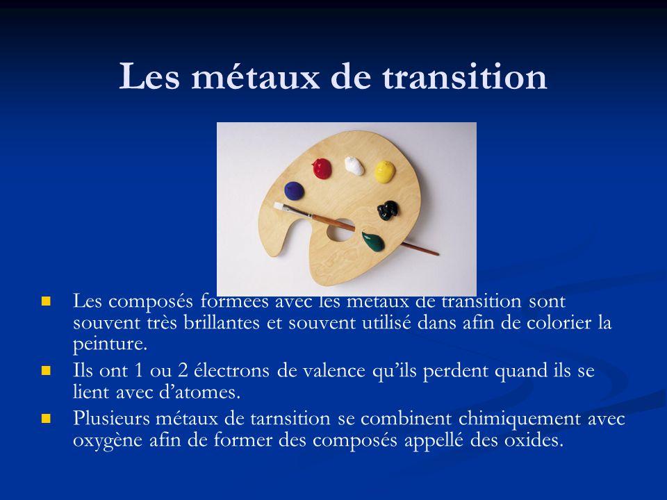 Les métaux de transition Les composés formées avec les métaux de transition sont souvent très brillantes et souvent utilisé dans afin de colorier la p