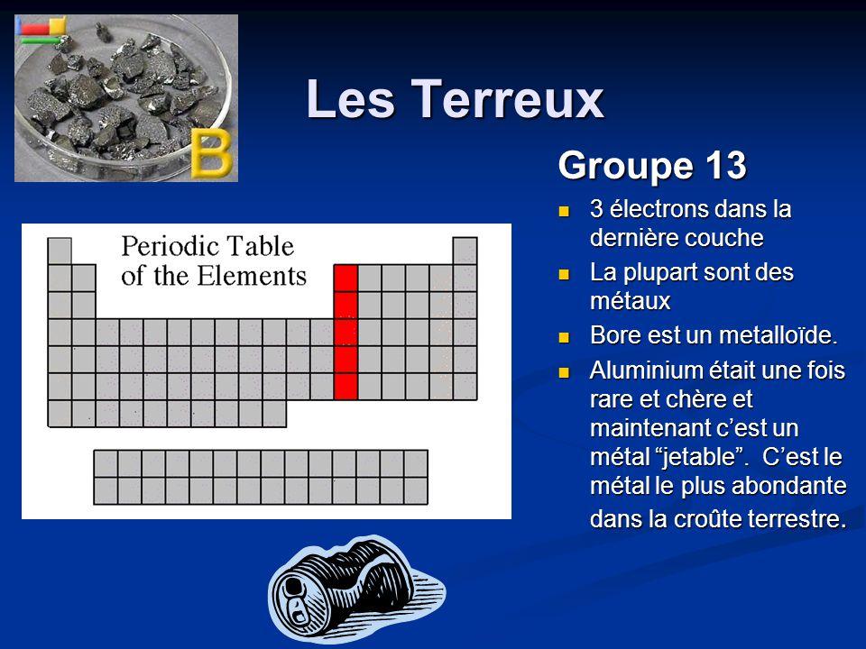 Les Terreux Les Terreux Groupe 13 3 électrons dans la dernière couche 3 électrons dans la dernière couche La plupart sont des métaux La plupart sont d