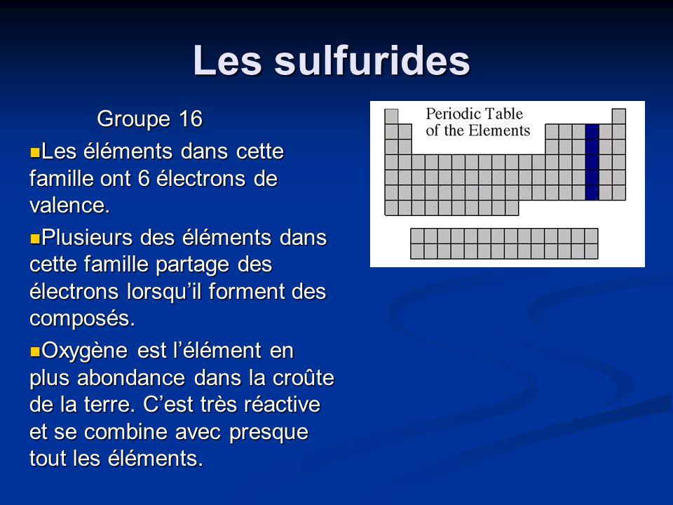 Les sulfurides Groupe 16 Les éléments dans cette famille ont 6 électrons de valence. Les éléments dans cette famille ont 6 électrons de valence. Plusi