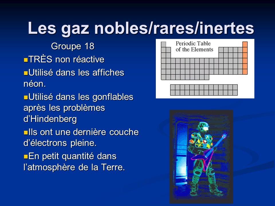 Les gaz nobles/rares/inertes Groupe 18 TRÈS non réactive TRÈS non réactive Utilisé dans les affiches néon. Utilisé dans les affiches néon. Utilisé dan