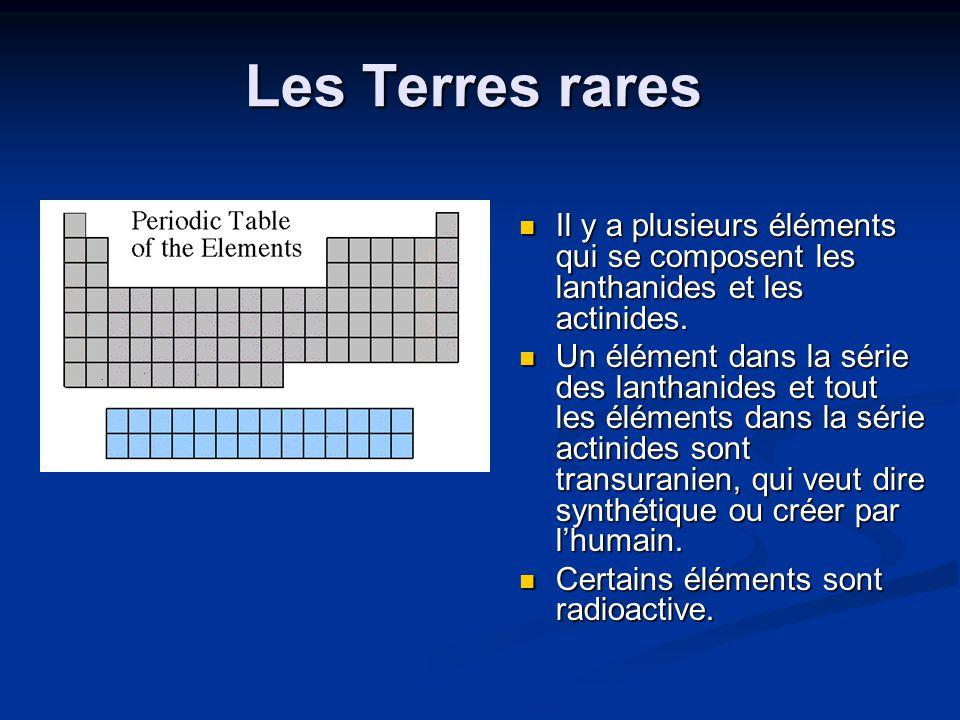Les Terres rares Il y a plusieurs éléments qui se composent les lanthanides et les actinides. Un élément dans la série des lanthanides et tout les élé