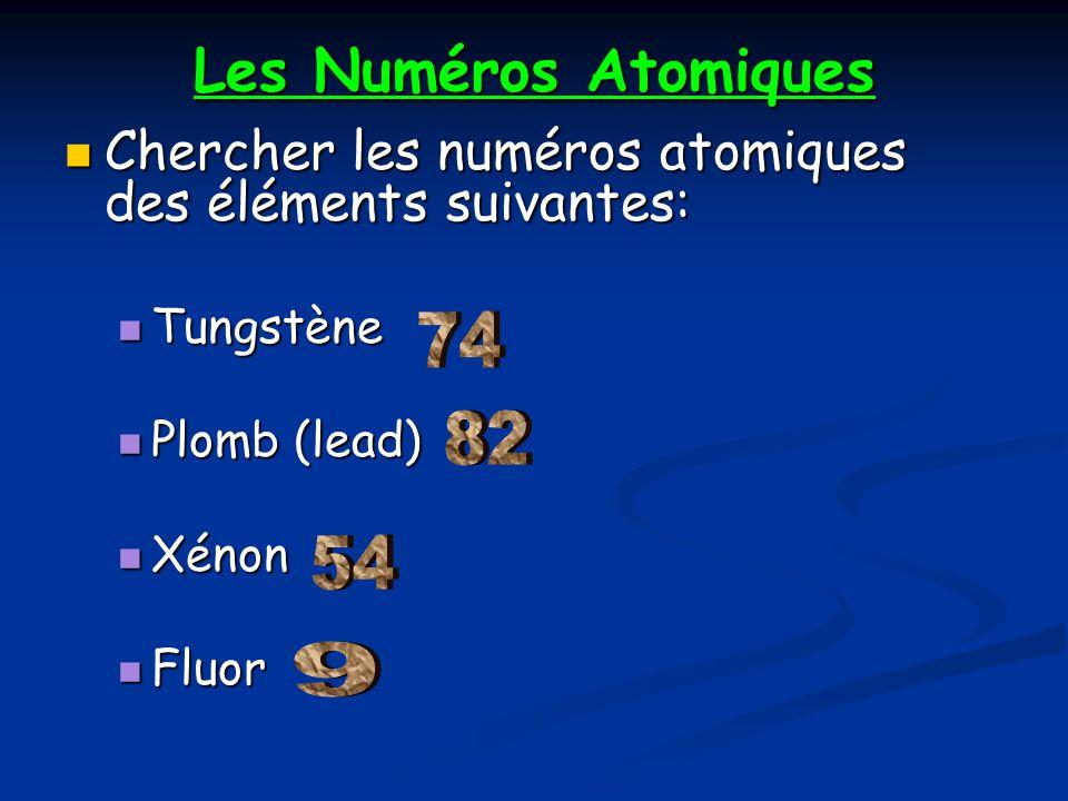 Les Numéros Atomiques Chercher les numéros atomiques des éléments suivantes: Chercher les numéros atomiques des éléments suivantes: Tungstène Tungstèn
