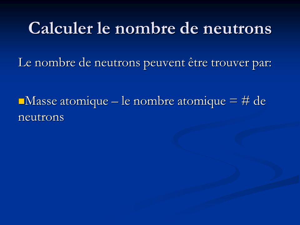 Calculer le nombre de neutrons Le nombre de neutrons peuvent être trouver par: Masse atomique – le nombre atomique = # de neutrons Masse atomique – le
