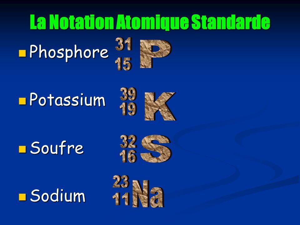 La Notation Atomique Standarde Phosphore Phosphore Potassium Potassium Soufre Soufre Sodium Sodium