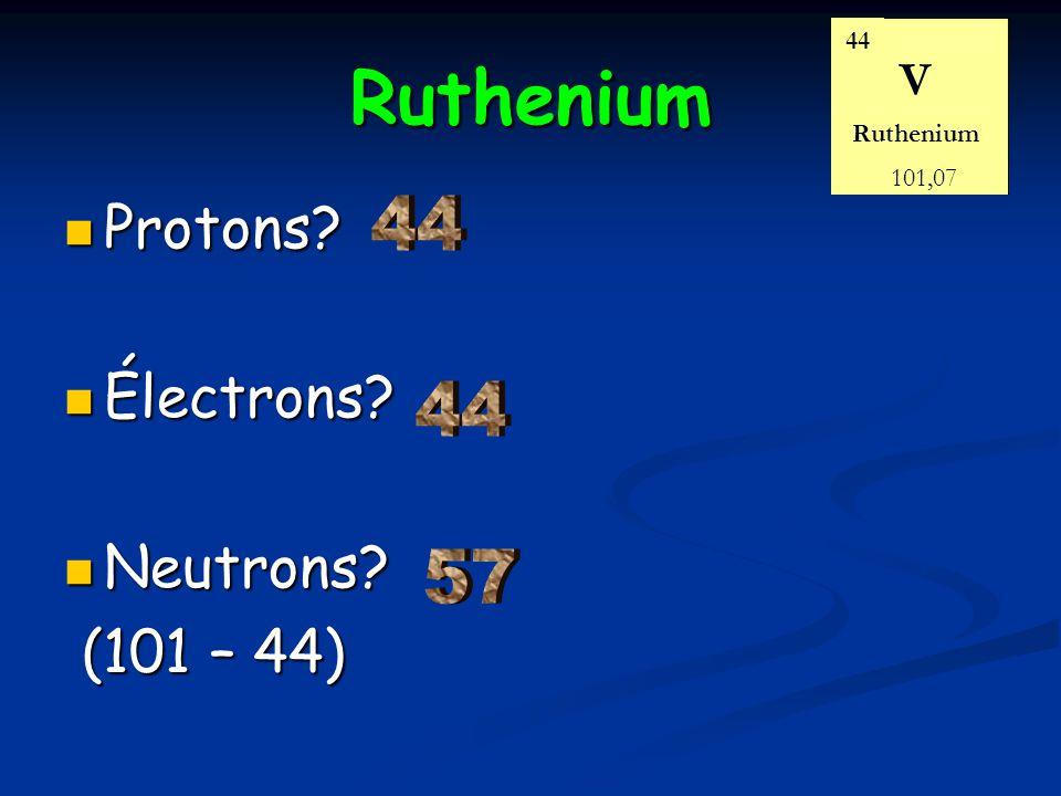 Ruthenium Protons? Protons? Électrons? Électrons? Neutrons? Neutrons? (101 – 44) (101 – 44) 44 Ruthenium V 101,07