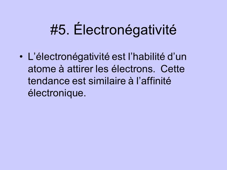 #5. Électronégativité Lélectronégativité est lhabilité dun atome à attirer les électrons. Cette tendance est similaire à laffinité électronique.