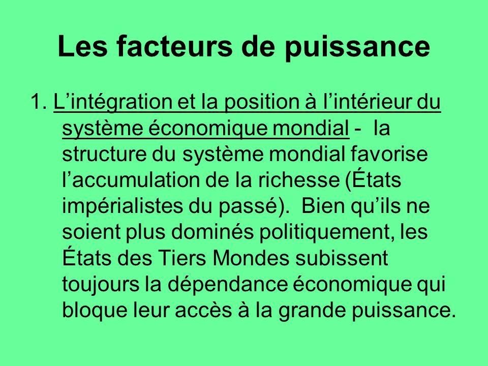 Les facteurs de puissance 1. Lintégration et la position à lintérieur du système économique mondial - la structure du système mondial favorise laccumu