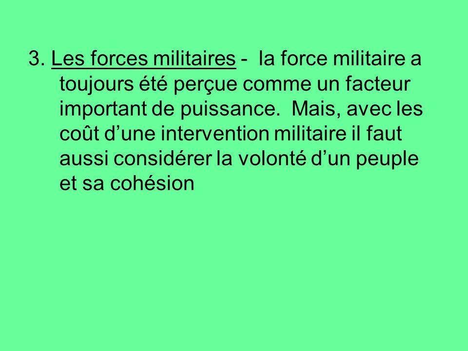 3. Les forces militaires - la force militaire a toujours été perçue comme un facteur important de puissance. Mais, avec les coût dune intervention mil