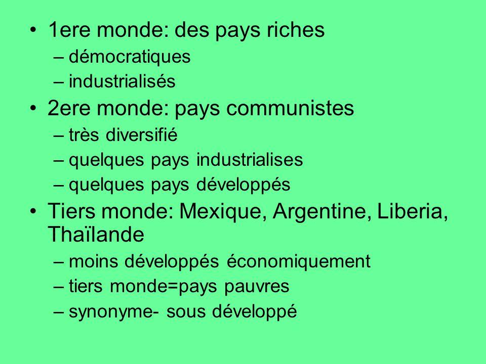 1ere monde: des pays riches –démocratiques –industrialisés 2ere monde: pays communistes –très diversifié –quelques pays industrialises –quelques pays