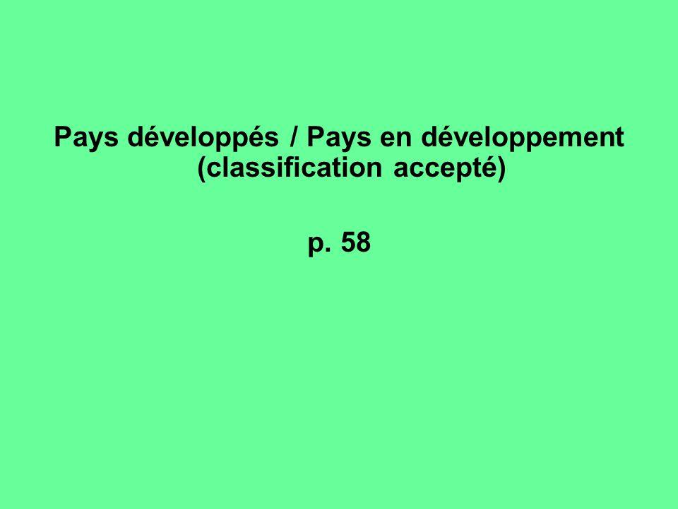 Pays développés / Pays en développement (classification accepté) p. 58