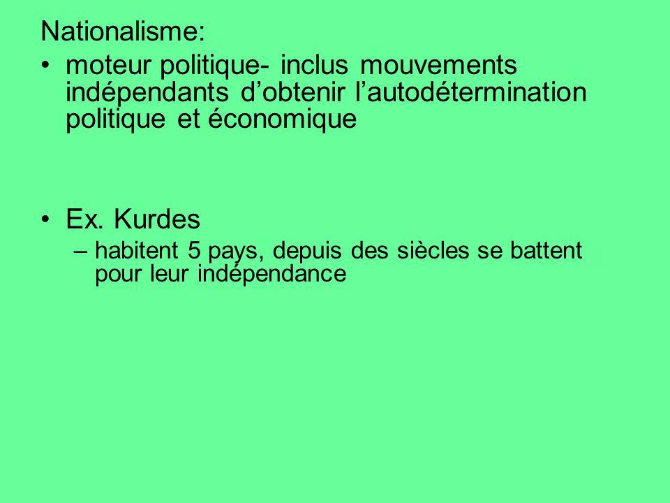Nationalisme: moteur politique- inclus mouvements indépendants dobtenir lautodétermination politique et économique Ex. Kurdes –habitent 5 pays, depuis