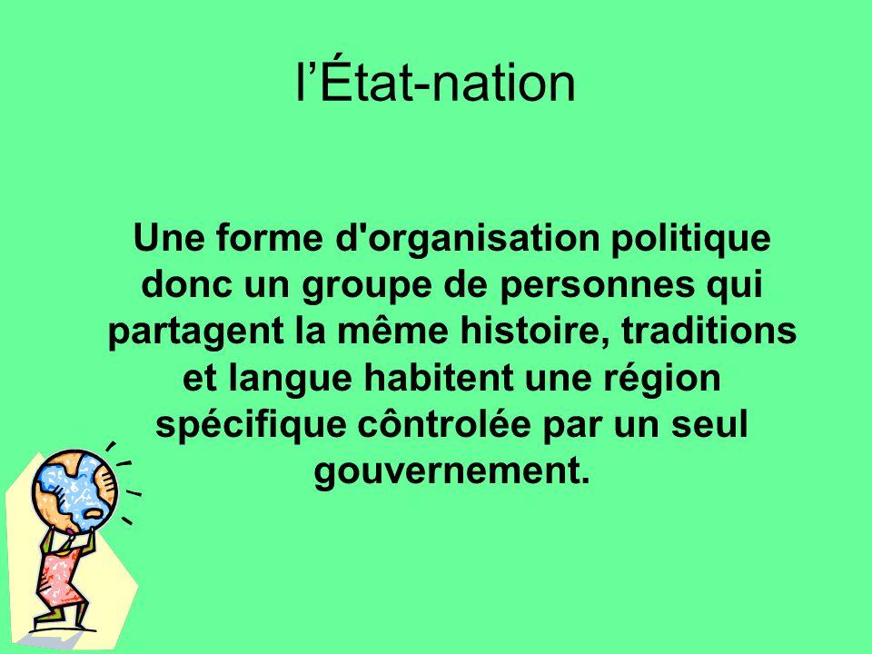 lÉtat-nation Une forme d'organisation politique donc un groupe de personnes qui partagent la même histoire, traditions et langue habitent une région s