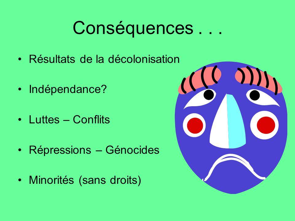 Conséquences... Résultats de la décolonisation Indépendance? Luttes – Conflits Répressions – Génocides Minorités (sans droits)