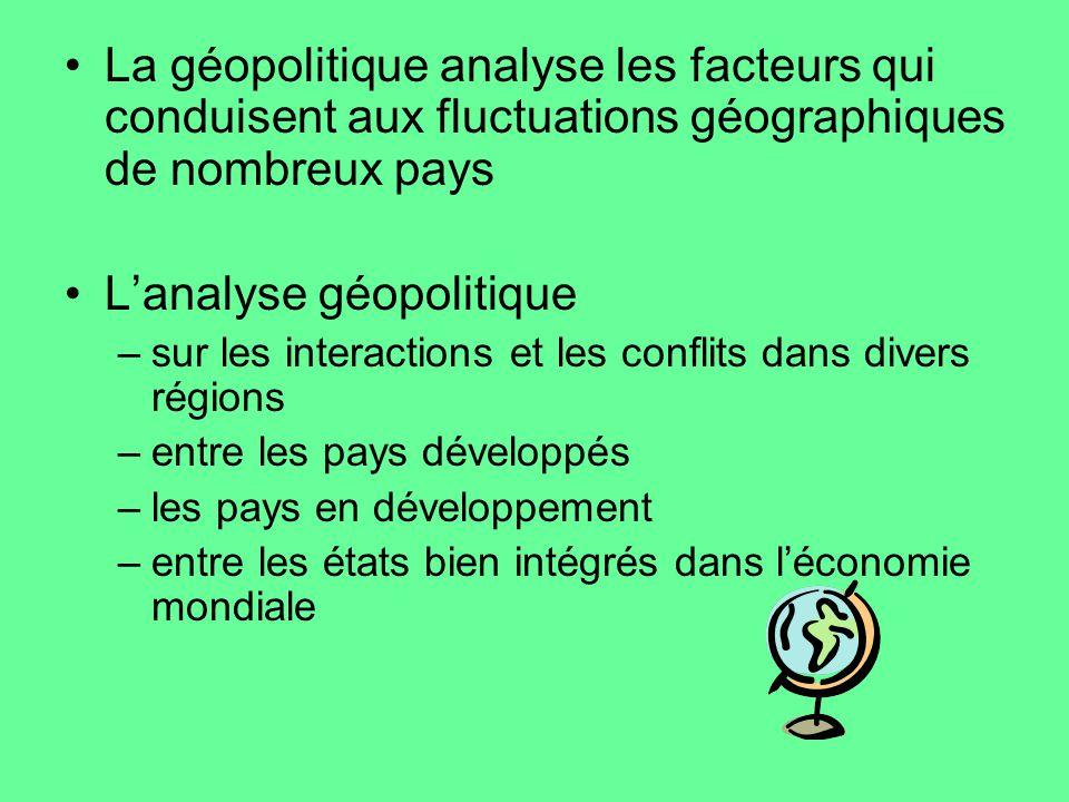 La géopolitique analyse les facteurs qui conduisent aux fluctuations géographiques de nombreux pays Lanalyse géopolitique –sur les interactions et les