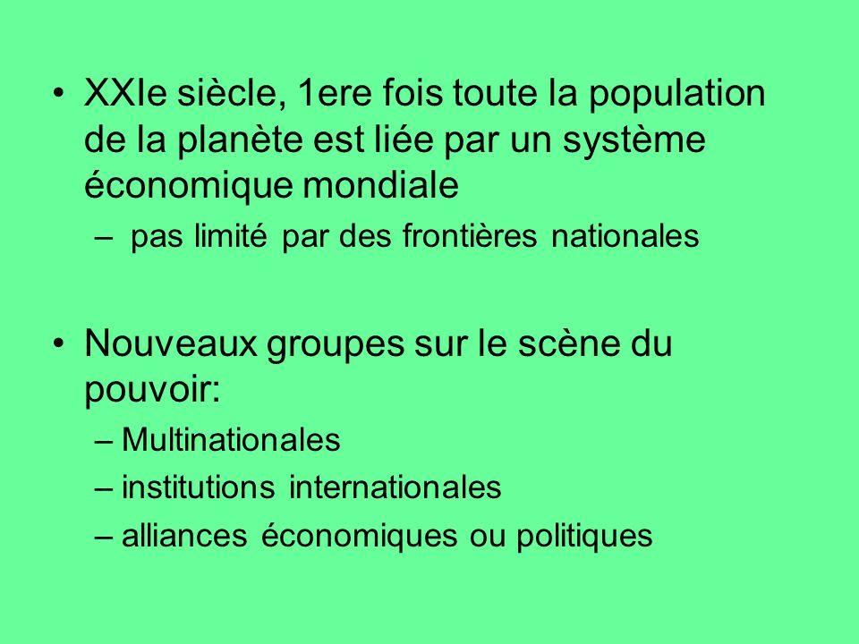 XXIe siècle, 1ere fois toute la population de la planète est liée par un système économique mondiale – pas limité par des frontières nationales Nouvea