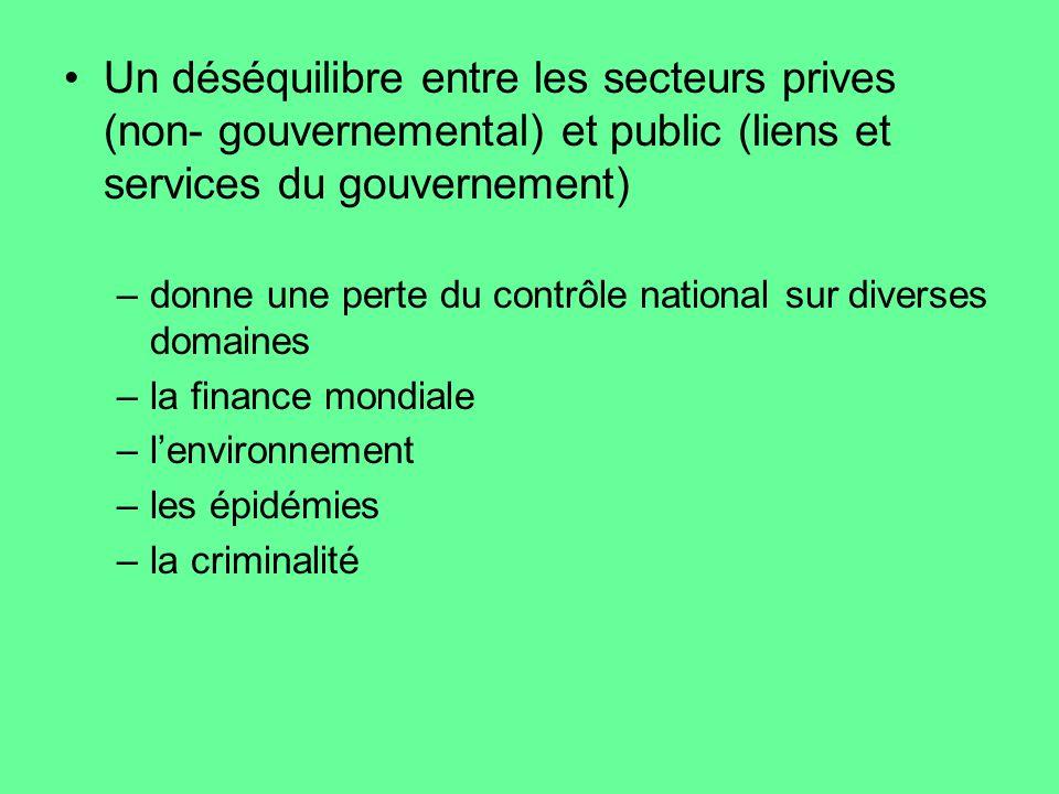 Un déséquilibre entre les secteurs prives (non- gouvernemental) et public (liens et services du gouvernement) –donne une perte du contrôle national su