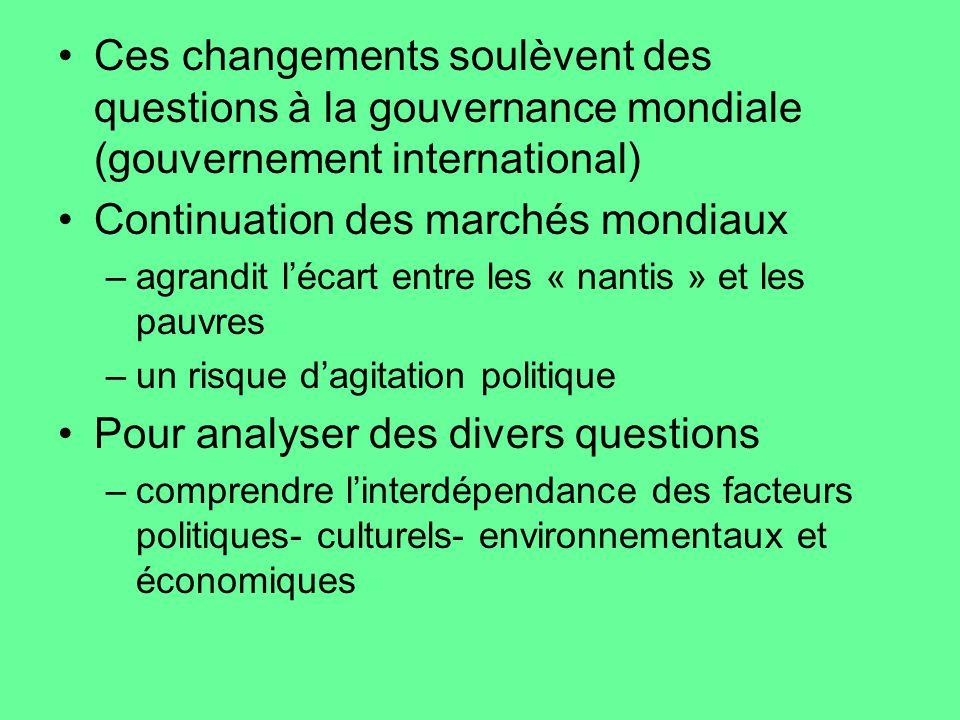Ces changements soulèvent des questions à la gouvernance mondiale (gouvernement international) Continuation des marchés mondiaux –agrandit lécart entr