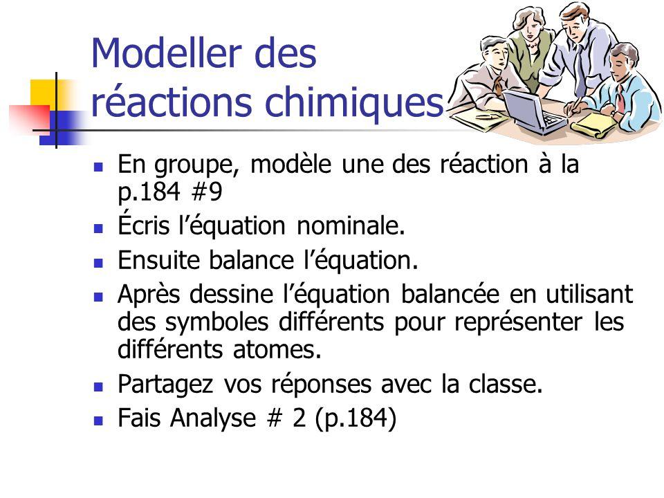 Modeller des réactions chimiques En groupe, modèle une des réaction à la p.184 #9 Écris léquation nominale. Ensuite balance léquation. Après dessine l