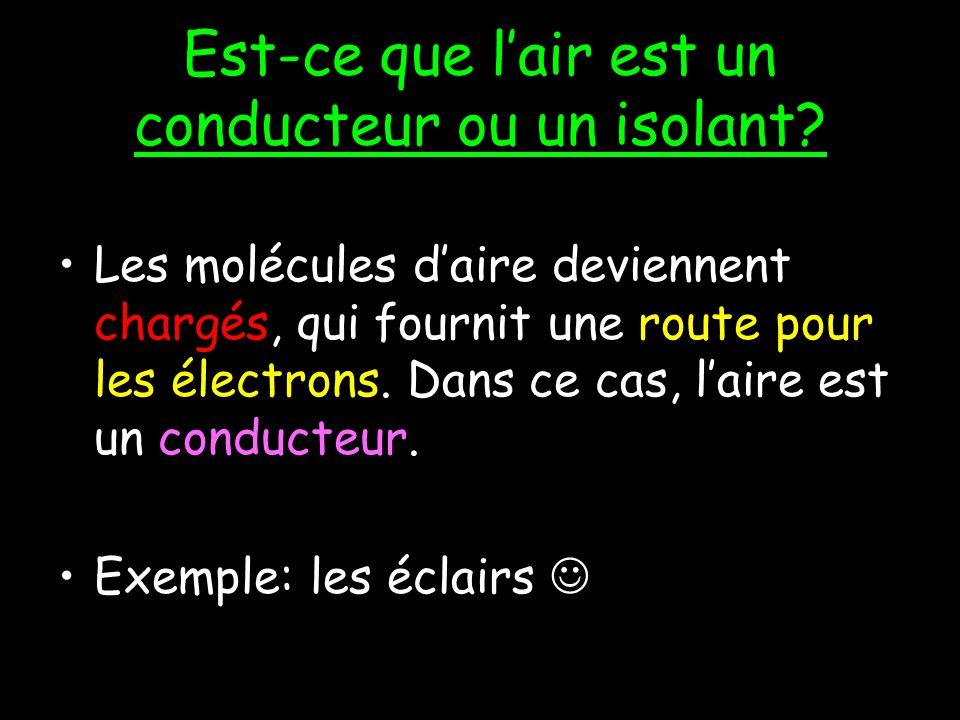 Est-ce que lair est un conducteur ou un isolant.Dhabitude, lair est un isolant.