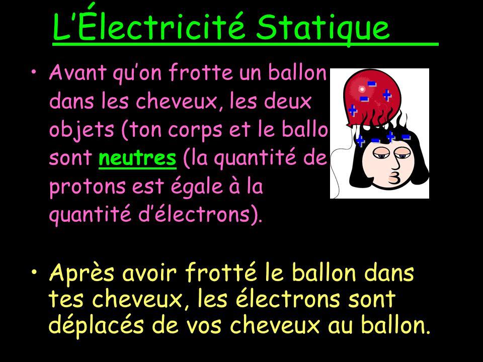 LÉlectricité Statique Lélectricité statique est la charge qui reste sur un objet.