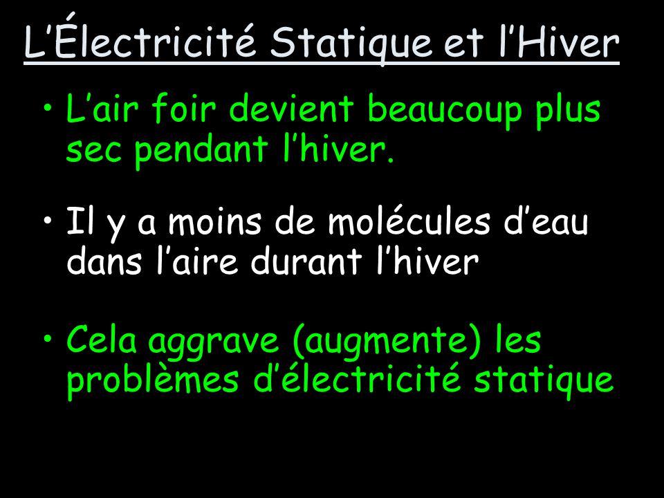 LA RÉCHERCHE INDÉPENDANTE Pourquoi est-ce que lélectricité statique est plus pire durant lhiver?