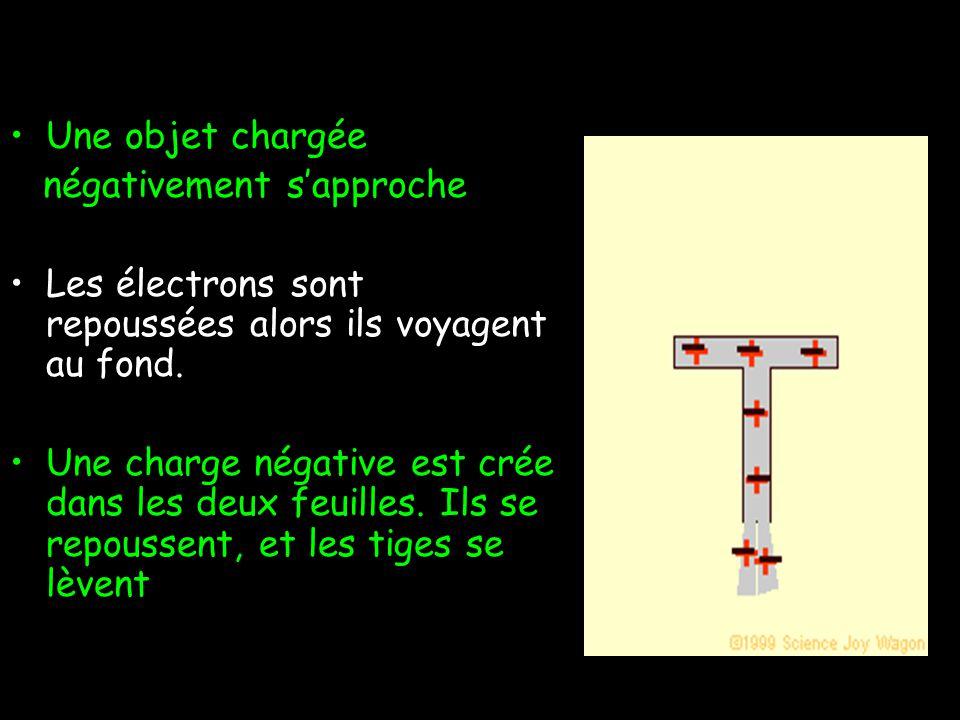 Décrivons ce qui arrive… Une objet chargée positivement sapproche Les électrons sont attirées, alors ils voyagent au sommet Une charge positive reste dans les deux feuilles.