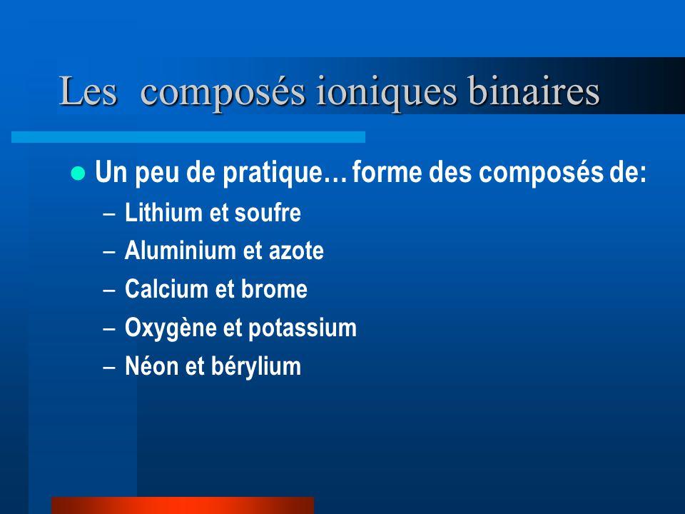 Les composés ioniques binaires Un peu de pratique… forme des composés de: – Lithium et soufre – Aluminium et azote – Calcium et brome – Oxygène et potassium – Néon et bérylium