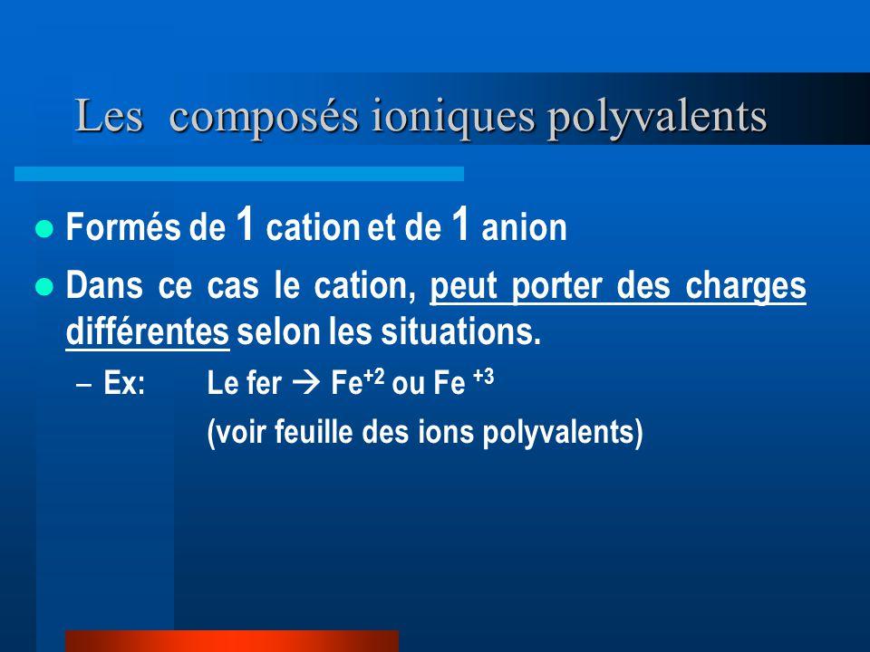 Les composés ioniques polyvalents Formés de 1 cation et de 1 anion Dans ce cas le cation, peut porter des charges différentes selon les situations. –