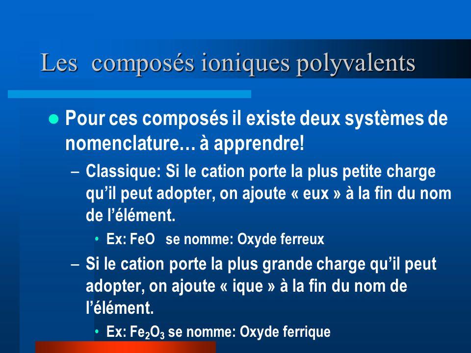 Les composés ioniques polyvalents Pour ces composés il existe deux systèmes de nomenclature… à apprendre! – Classique: Si le cation porte la plus peti