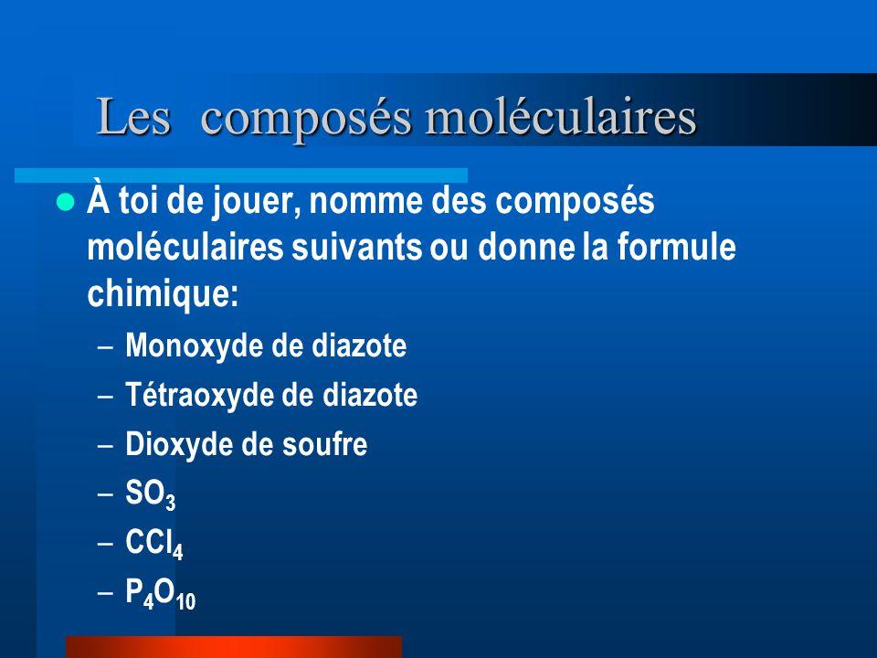 Les composés moléculaires À toi de jouer, nomme des composés moléculaires suivants ou donne la formule chimique: – Monoxyde de diazote – Tétraoxyde de diazote – Dioxyde de soufre – SO 3 – CCl 4 – P 4 O 10