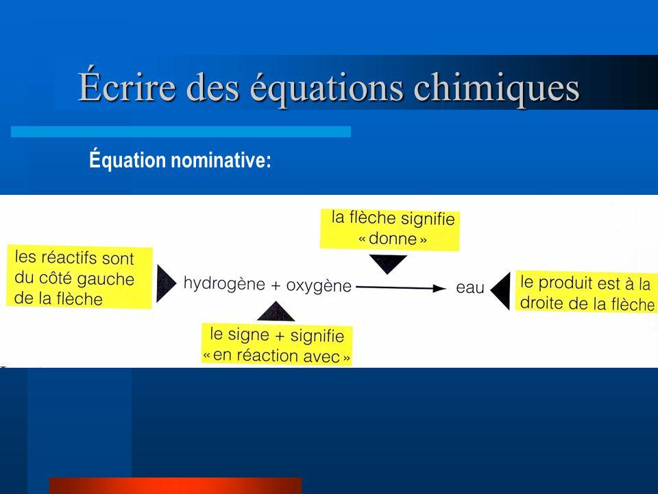 Écrire des équations chimiques Équation nominative: