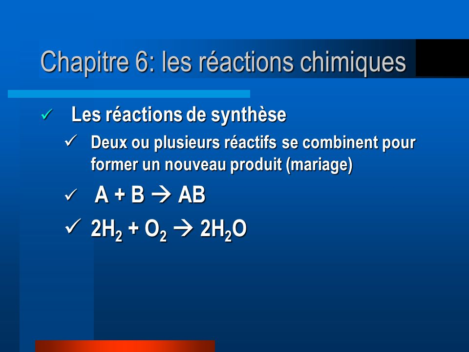 Chapitre 6: les réactions chimiques Les réactions de synthèse Les réactions de synthèse Deux ou plusieurs réactifs se combinent pour former un nouveau produit (mariage) Deux ou plusieurs réactifs se combinent pour former un nouveau produit (mariage) A + B AB A + B AB 2H 2 + O 2 2H 2 O 2H 2 + O 2 2H 2 O