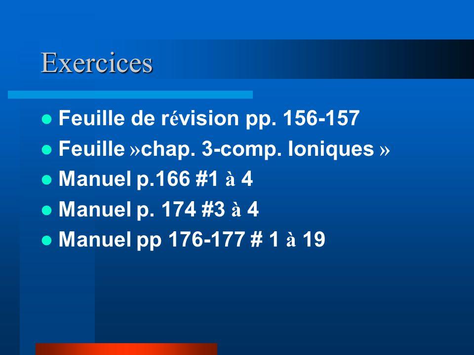 Exercices Feuille de r é vision pp. 156-157 Feuille » chap. 3-comp. Ioniques » Manuel p.166 #1 à 4 Manuel p. 174 #3 à 4 Manuel pp 176-177 # 1 à 19