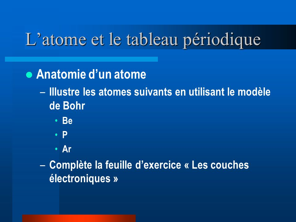 Latome et le tableau périodique Anatomie dun atome – Illustre les atomes suivants en utilisant le modèle de Bohr Be P Ar – Complète la feuille dexerci