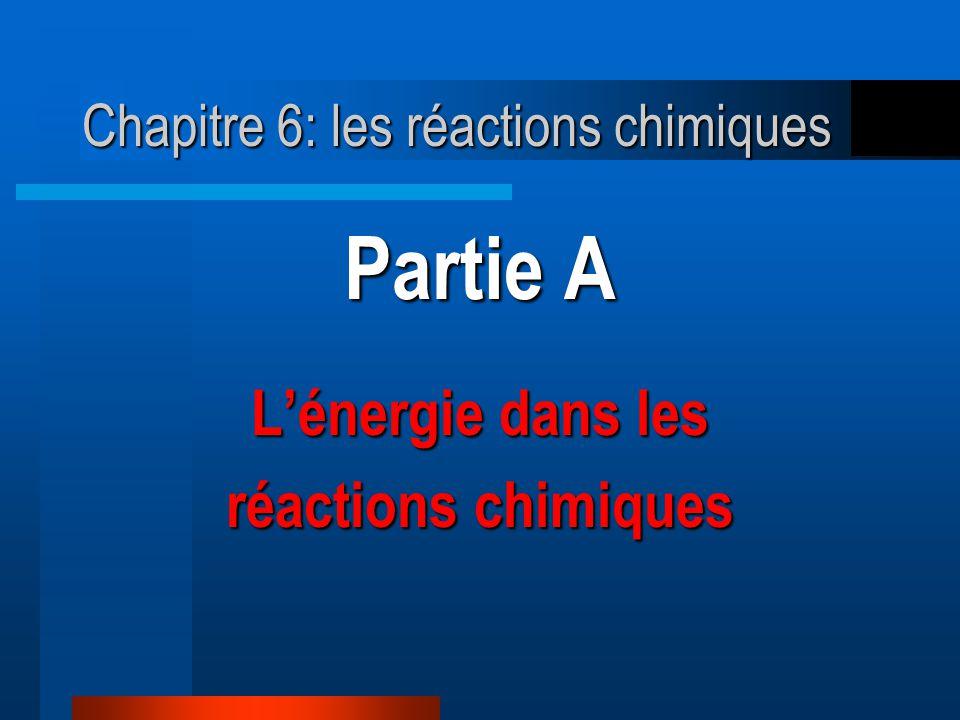 Partie A Lénergie dans les réactions chimiques