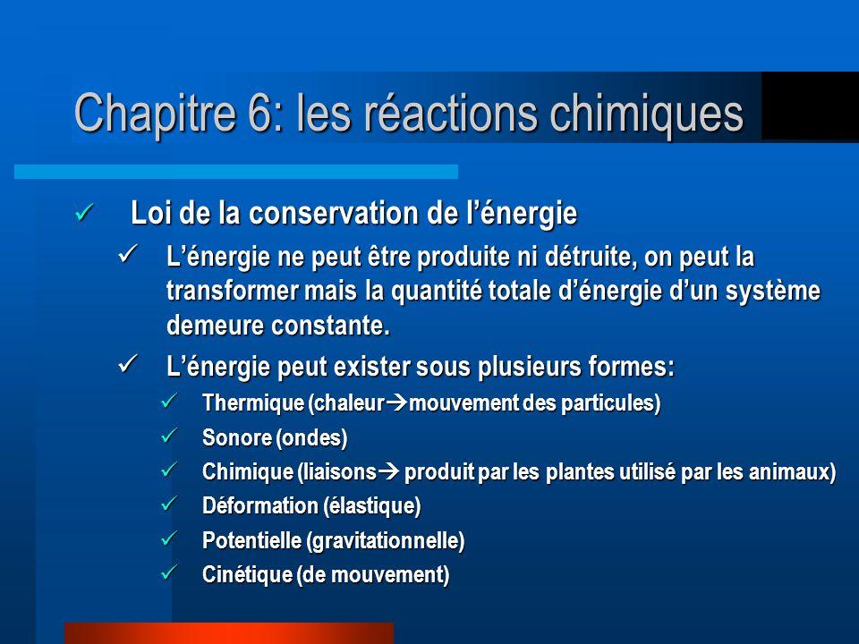 Chapitre 6: les réactions chimiques Loi de la conservation de lénergie Loi de la conservation de lénergie Lénergie ne peut être produite ni détruite, on peut la transformer mais la quantité totale dénergie dun système demeure constante.