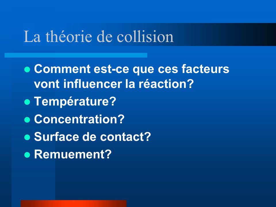 La théorie de collision Comment est-ce que ces facteurs vont influencer la réaction? Température? Concentration? Surface de contact? Remuement?