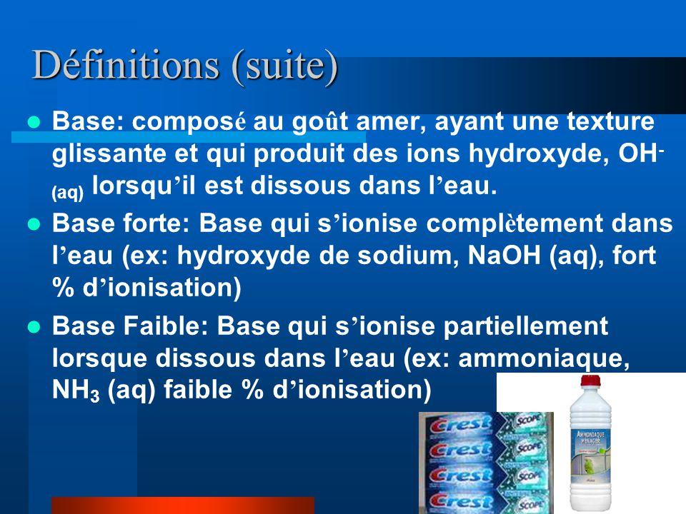 Définitions (suite) Base: compos é au go û t amer, ayant une texture glissante et qui produit des ions hydroxyde, OH - (aq) lorsqu il est dissous dans l eau.