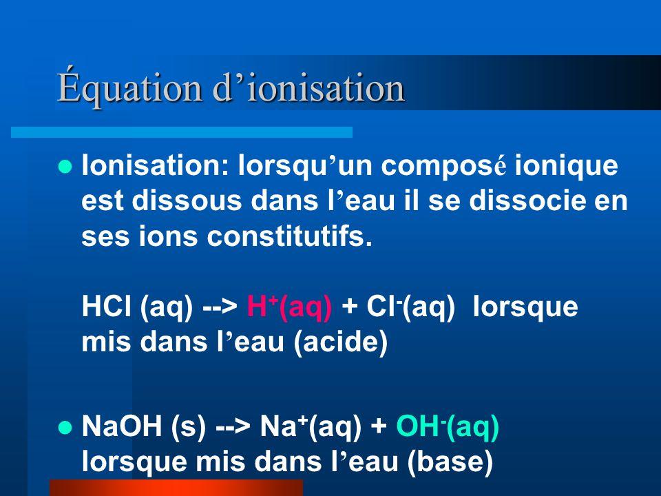 Équation dionisation Ionisation: lorsqu un compos é ionique est dissous dans l eau il se dissocie en ses ions constitutifs. HCl (aq) --> H + (aq) + Cl