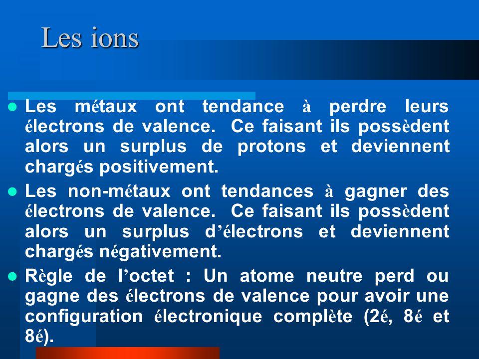 Les ions Les m é taux ont tendance à perdre leurs é lectrons de valence. Ce faisant ils poss è dent alors un surplus de protons et deviennent charg é