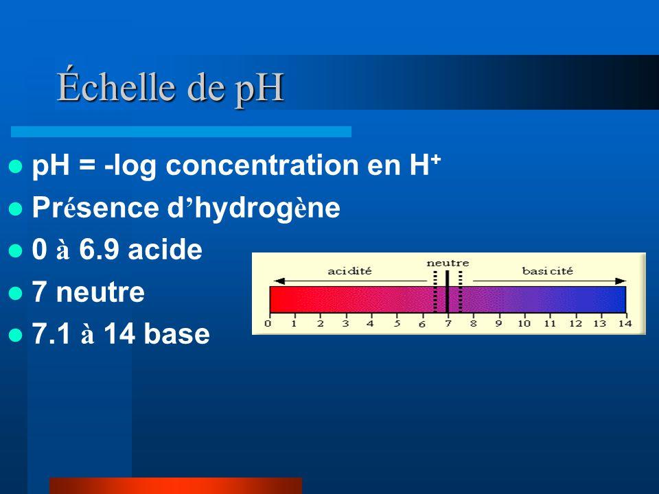 Échelle de pH pH = -log concentration en H + Pr é sence d hydrog è ne 0 à 6.9 acide 7 neutre 7.1 à 14 base