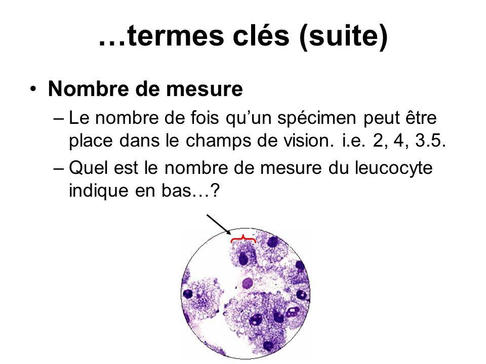 Nombre de mesure –Le nombre de fois quun spécimen peut être place dans le champs de vision. i.e. 2, 4, 3.5. –Quel est le nombre de mesure du leucocyte