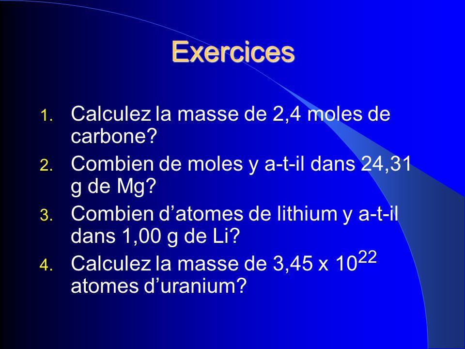 Exercices 1. Calculez la masse de 2,4 moles de carbone? 2. Combien de moles y a-t-il dans 24,31 g de Mg? 3. Combien datomes de lithium y a-t-il dans 1