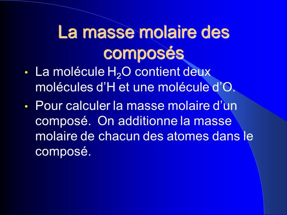 La masse molaire des composés La molécule H 2 O contient deux molécules dH et une molécule dO. Pour calculer la masse molaire dun composé. On addition